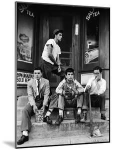 Teenage Boys Hangout on Stoop of Local Store Front by Gordon Parks