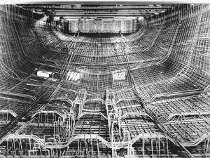 Network of Metal Rods Woven Together Inside Stern at Great Northern Concrete Shipbuilding Co by Gordon Stuart