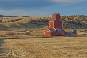 A Grain Elevator and Silos Stand Amid Fallow Wheat Fields in the Gallatin Valley, North of Bozeman by Gordon Wiltsie