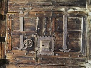 Detail of Old Lock and Hinges on Old Wood by Gordon Wiltsie