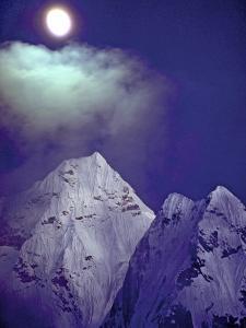 Moonrise over 6828-Meter Ama Dablam by Gordon Wiltsie