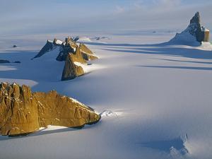 Mount Ulvetanna (R) and the Fenris Mountains Tower over the Fenris Glacier by Gordon Wiltsie