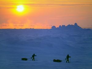 Reinhold and Hubert Messner Test Sleds Amidst Pressure Ridges by Gordon Wiltsie