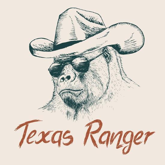 Gorilla like a Texas Ranger Dressed in Sheriff Hat.Prints Design for T-Shirts-Dimonika-Art Print