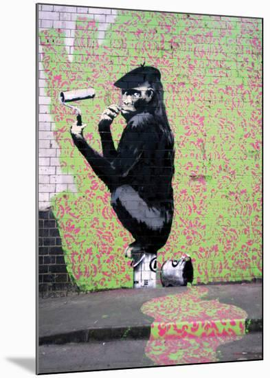 Gorilla-Banksy-Mounted Giclee Print