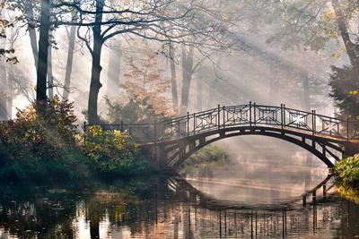 Old Bridge in Autumn Misty Park - HDR