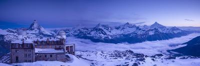 Gornergrat Kulm Hotel and Matterhorn, Zermatt, Valais, Switzerland-Jon Arnold-Photographic Print