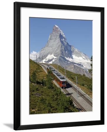 Gornergrat Railway in Front of the Matterhorn, Riffelberg, Zermatt, Valais, Swiss Alps, Switzerland-Hans Peter Merten-Framed Photographic Print