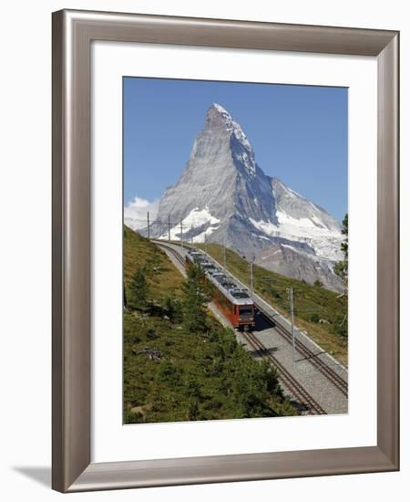 Gornergrat Railway in Front of the Matterhorn, Riffelberg, Zermatt, Valais, Swiss Alps, Switzerland-Hans Peter Merten-Framed Photographic Print