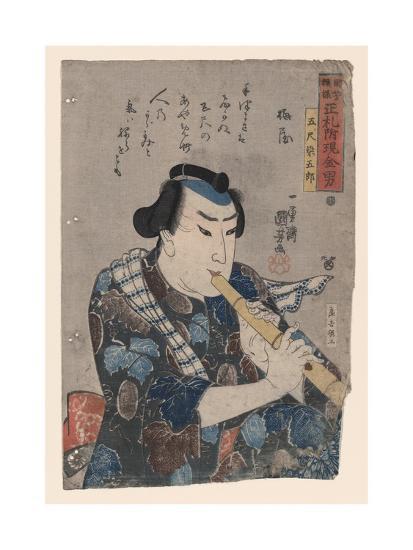 Goshaku Somegoro Playing Shakuhachi-Kuniyoshi Utagawa-Giclee Print