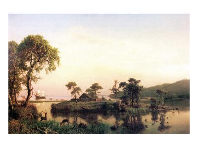 Gosnold on the Island of Cuttyhunk-Albert Bierstadt-Premium Giclee Print