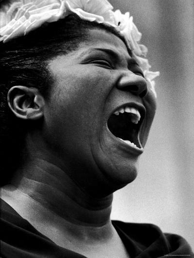 Gospel Singer Mahalia Jackson Singing at 'Prayer Pilgrimage for Freedom'-Paul Schutzer-Premium Photographic Print