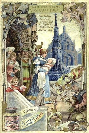 Gothic Architecture; Schoener Brunnen Fountain and Frauenkirche, Nuremberg--Giclee Print
