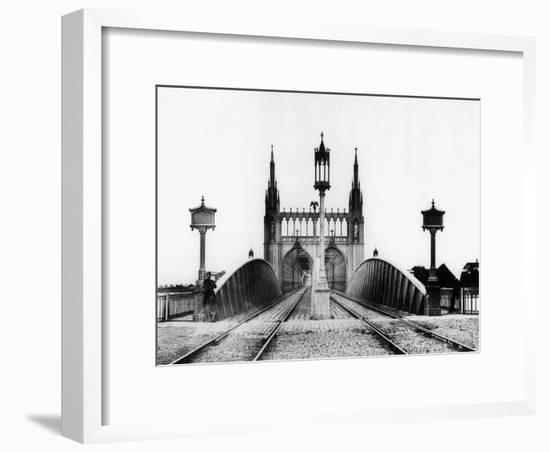Gothic Bridge and Railway Railroad over the Rhine in Strasbourg Alsace East of France after 1870--Framed Photo