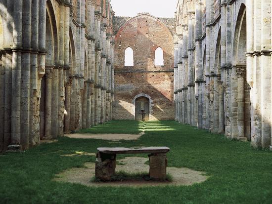 Gothic Interior of the Abbey of San Galgano--Giclee Print