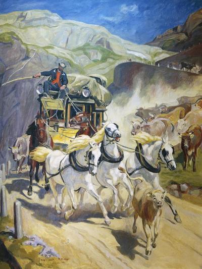 Gotthard Post Coach, by Rudolf Koller (1828-1905), 1956 Copy--Giclee Print