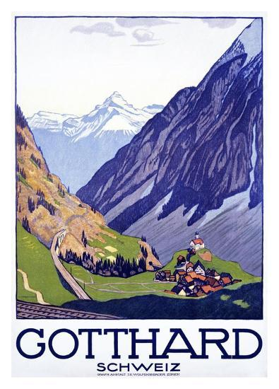 Gotthard, Schweiz-Emil Cardinaux-Art Print