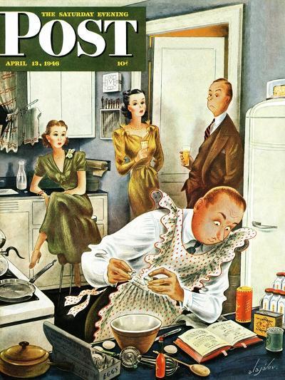 """Gourmet Cook?,"" Saturday Evening Post Cover, April 13, 1946-Constantin Alajalov-Giclee Print"