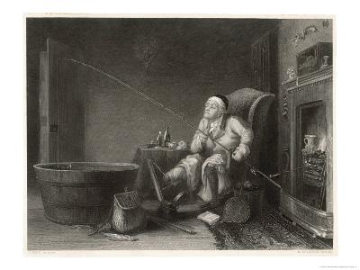 Gout Man Fishes at Home-H. Beckwith-Giclee Print