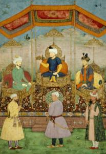 Timur Handing the Imperial Crown to Babur, India by Govardhan
