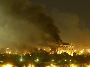 Government Building Burns During Heavy Bombardment of Baghdad, Iraq by U.S.-Led Forces