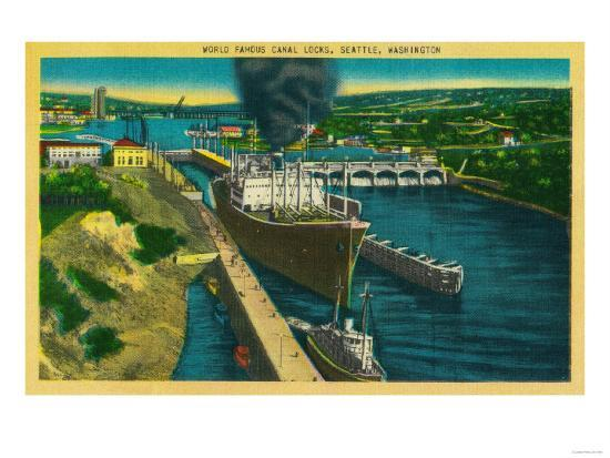 Government Locks, Ballard Locks, Seattle - Seattle, WA-Lantern Press-Art Print