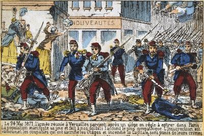 Government Soldiers Advancing into Paris to Suppress the Commune, 24th May 1871--Giclee Print