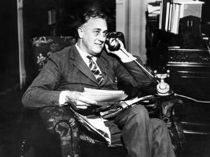 Governor Franklin Delano Roosevelt He Takes Via Long Distance Telephone to His Representatives