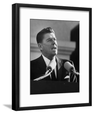 Governor Ronald W. Reagan Making Inaugural Speech after Swearing in Ceremony at Capitol