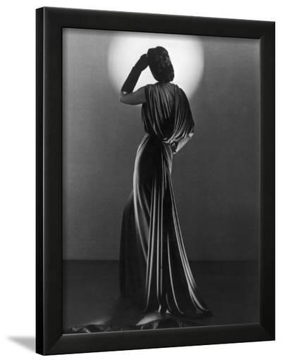 Gown in Mauve Jersey by Balenciaga of Paris Which Makes Dramatic Use of Classical Style Drapery--Framed Photographic Print