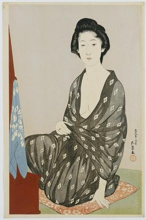 A Beauty in a Black Kimono with White Hanabishi Patterns, Seated before a Mirror, 1920