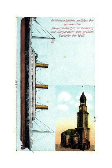 Gr??enverh?ltnis Zw. Dampfer Imperator Und Kirche--Giclee Print