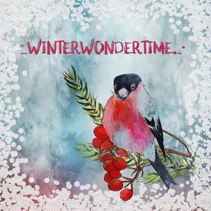 Bird Winter Snow Christmas Illustration by Grab My Art