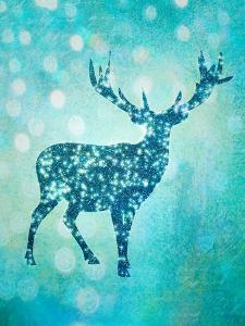Blue Glitter Deer by Grab My Art