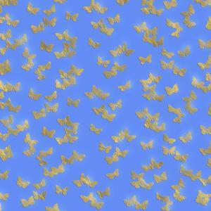 Blue Gold Glitter Pattern Butterflies - Square by Grab My Art