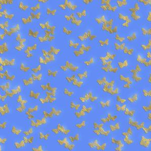 Blue Gold Glitter Pattern Butterflies - Square by Grab My Art