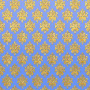 Blue Gold Glitter Pattern Damask - Square by Grab My Art