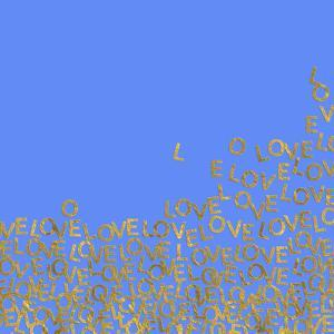 Blue Gold Glitter Pattern Love Letters - Square by Grab My Art