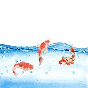 Happy Koi Fishes - Square by Grab My Art