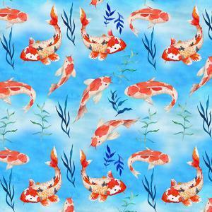 Koi Fish Fishes Pattern Illustration 2 by Grab My Art