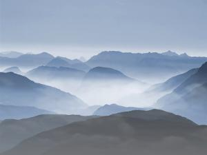 Mountains Clouds Blue Landscape by Grab My Art