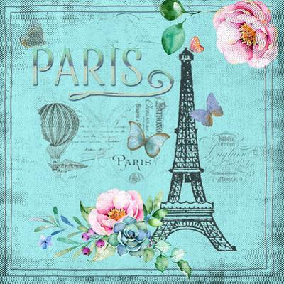 Paris And Eiffel Tower In Teal by Grab My Art