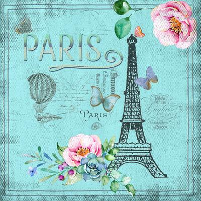 Paris And Eiffel Tower In Teal