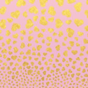 Pink Gold Glitter Pattern Hearts-Square by Grab My Art