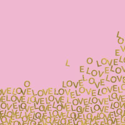 Pink Gold Glitter Pattern Love-Square