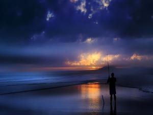 Seascape Sea Beach Fisher Sundown by Grab My Art