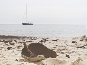Summer Beach Shoes Boat Sea by Grab My Art