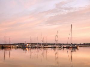 Sundown Lake Boats Summer by Grab My Art