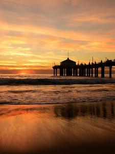 Sundown Pier Sea by Grab My Art