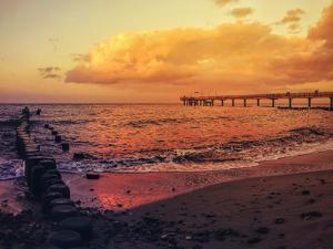 Sundown Sea Pier Beach by Grab My Art